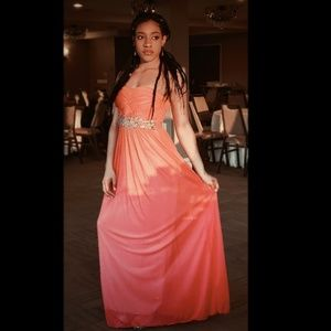 Long peach prom dress/ gown